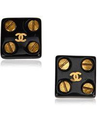 Chanel - Round Stud Earrings - Lyst