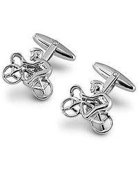 Aspinal of London Sterling Silver Cyclist Cufflinks - Metallic