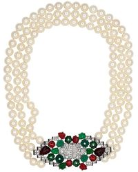 Kenneth Jay Lane - Pearl Deco Clasp Necklace - Lyst