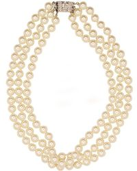 Kenneth Jay Lane - Pearl Deco Clasp Jackie O Necklace - Lyst