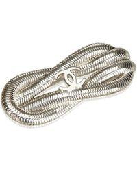 Chanel - Cc Silver-toned Metal Brooch - Lyst 07f30b2df27