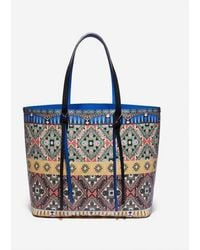Johnny Was Printed All Leather Tippi Tote - Blue