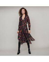 Maje Printed-cotton Scarf Dress - Blue