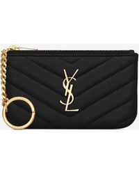 162b93980a Lyst - Saint Laurent Monogram Matelassé Leather Key Pouch in Black