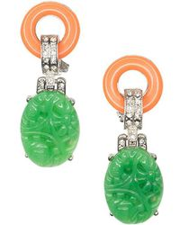 Kenneth Jay Lane - Coral And Jade Art Deco Pierced Or Clip Earrings - Lyst