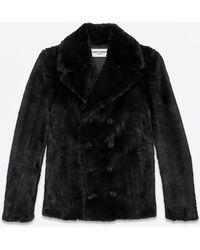 Saint Laurent - Fake Fur Pea Coat - Lyst