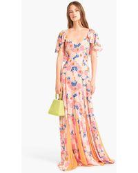 STAUD - Baya Dress | Abstract Peach Blossom Tangerine - Lyst