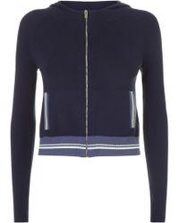 La Perla - Silk Soul Blue Silk Knit Long Sleeved Hooded Sweater - Lyst