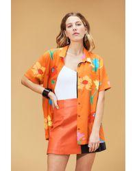 VEDA Belize Silk Button Down Top Big Floral Coral - Orange