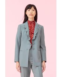 Rebecca Taylor - Gabardine Suiting Ruffle Jacket - Lyst