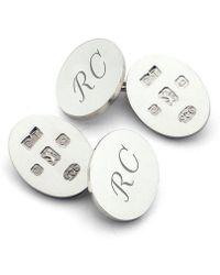 Aspinal of London Feature Hallmark Sterling Silver Cufflinks - Metallic