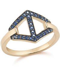 WALTERS FAITH Keynes 18k Signature Sapphire Hexagon Motif Ring - Multicolor