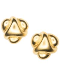 Kenneth Jay Lane - Satin Gold Abstract Button Clip Earrings - Lyst