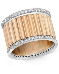 WALTERS FAITH Clive 18k Two Tone 15mm Diamond Fluted Band Ring - Multicolor