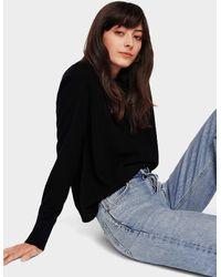 White + Warren Essential Cashmere Sweatshirt - Black