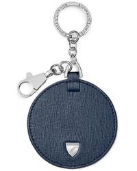 Aspinal of London Disc Keyring - Blue