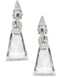 Kenneth Jay Lane Crystal Art Deco Clip Earrings - Multicolor