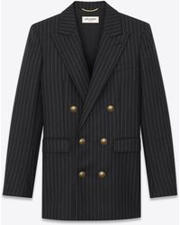Saint Laurent - Double-breasted Flannel Jacket With Rive Gauche Stripes - Lyst