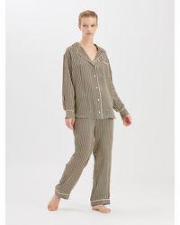 Oscar de la Renta - Stripey Dots Satin-crepe Pajama Shirt - Lyst