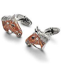 Aspinal of London Sterling Silver & Enamel Animal Cufflinks - Metallic