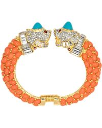 Kenneth Jay Lane - Coral & Turquoise Cabochon Bracelet - Lyst