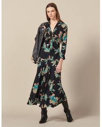 Sandro - Long Printed Dress With Tie Fastening - Lyst