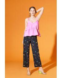 VEDA Vista Silk Pant Little Floral Black - Multicolor