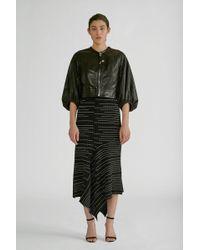 Yigal Azrouël Striped Rib Knit Midi Skirt - Black