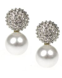 Kenneth Jay Lane - Pave Crystal & Pearl Bottom Pierced Or Clip Earrings - Lyst