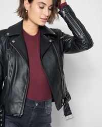7 For All Mankind - Leather Asymmetrical Zip Belted Moto Jacket - Lyst