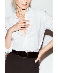 Misha Nonoo The Husband Shirt Linen With Gold Studs - White