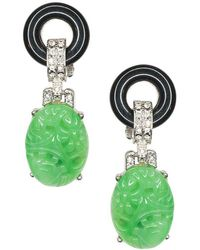 Kenneth Jay Lane Black And Jade Art Deco Pierced Or Clip Earrings - Multicolor