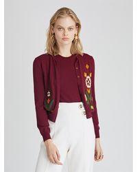 Oscar de la Renta - Flower Embroidered Wool Cardigan - Lyst