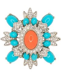 Kenneth Jay Lane - Small Turquoise And Coral Cluster Pin - Lyst