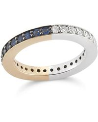 WALTERS FAITH Grant Two Tone 3mm Diamond & Sapphire Cubed Band Ring - Multicolor