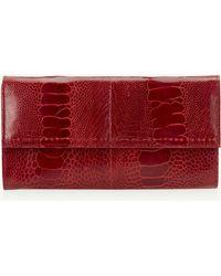 Okapi Women's Wallet / Flame Red Ostrich Shin, Gold Hardware