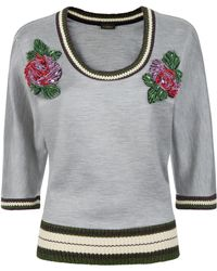 La Perla - Luxe Leisure Light Grey Bi-stretch Silk Melange Sweatshirt With Floral Appliqué - Lyst