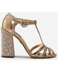 Dolce & Gabbana Rhinestone-embellished T-strap Sandals - Metallic