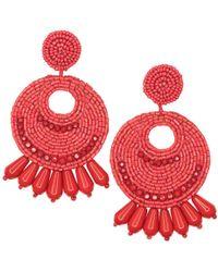 Kenneth Jay Lane - Large Red Seed Bead Round Gypsy Hoop Pierced Or Clip Earrings - Lyst