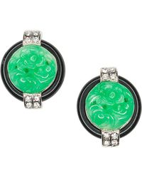 Kenneth Jay Lane Black And Jade Art Deco Clip Earrings - Green