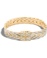 56c6d159ca5c Lyst - John Hardy Modern Chain Hinged Bangle With Diamonds in White
