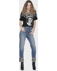 Alice + Olivia - Amazing High Rise Sequin Cuff Jean - Lyst