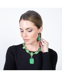 Kenneth Jay Lane Small Jade And Black Art Deco Drop Clip Earrings