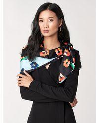 Diane von Furstenberg Polka Dot Flower Silk Twill Scarf - Multicolor