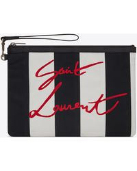 Saint Laurent Rive Gauche Zippered Pouch - Black