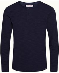 Orlebar Brown Navy Relaxed Fit Long-sleeve T-shirt - Blue