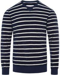 Orlebar Brown Pierce Navy/Shell Classic Fit Crew Neck Sweatshirt - Azul