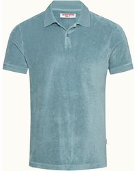 Orlebar Brown Silver Green Classic Fit Towelling Polo Shirt