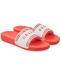 Orlebar Brown - Haddon White/red Logo Slide Sandals - Lyst