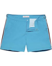 Orlebar Brown Bahama Blue/white Tape Stripe Shorter-length Swim Shorts